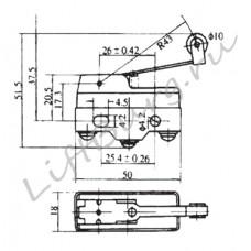 Концевой выключатель (Pivoted roller medium lever type) LXW5-11G3/FL