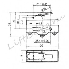 Концевой выключатель (Pivoted short lever type) LXW5-11N2/FL